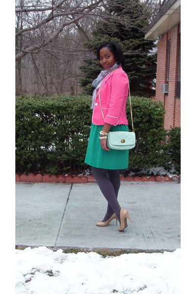 green Target dress - bubble gum Target blazer - unknown scarf