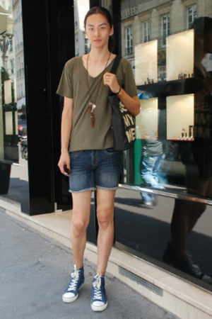 blue Converse sneakers - blue jeans cut shorts - H&amp;M necklace