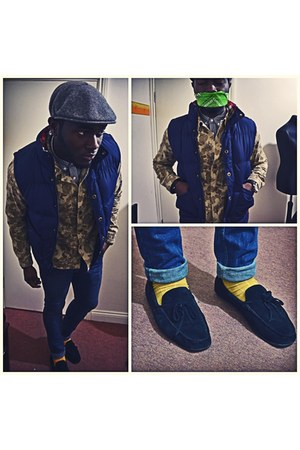 yellow Jack and Jones socks - black Tods shoes - navy River Island jeans