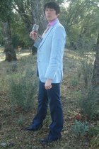 blue arrogant blazer - white DIY tie - black Aldo boots - red Cantiga accessorie