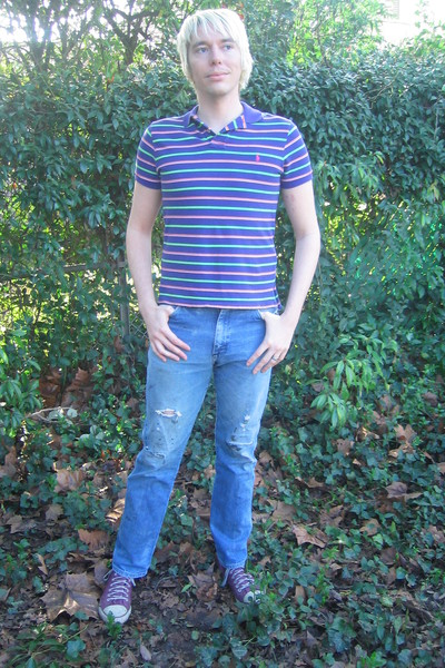 purple Ralph Lauren shirt - blue Wrangler jeans - purple onitsuka tiger shoes