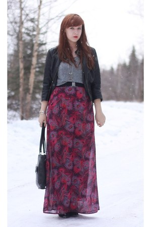 black bongo thrifted jacket - black seychelles boots - maroon PacSun dress