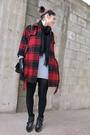 Red-gap-coat-black-vintage-scarf-gray-lacoste-dress-black-coach-gloves-b