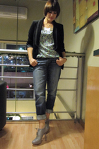 black Zara jacket - DKNY blouse - blue abercrombie and fitch jeans - gray christ