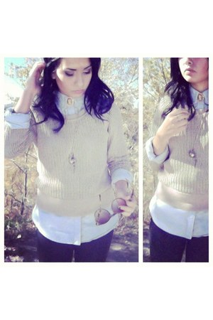 light blue button-up Ralph Lauren shirt - beige heavy knit BDG sweater