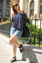 navy H&M t-shirt - black pvc H&M bag - light blue jeans denim c&a shorts