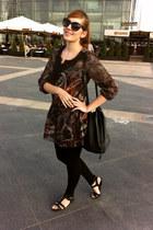 black studed leather vagabond sandals - brown print lindex dress