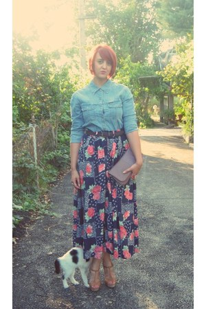 floral thrifted skirt - denim vintage Marc OPolo shirt - leather Carpisa bag