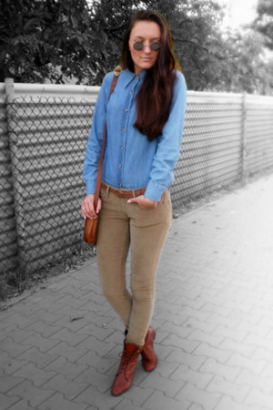 brick red vintage shoes - blue H&amp;M shirt - brick red vintage bag
