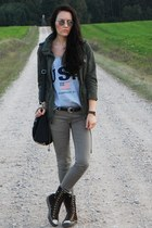 olive green H&M jacket - black etorebkapl bag - brown Converse sneakers