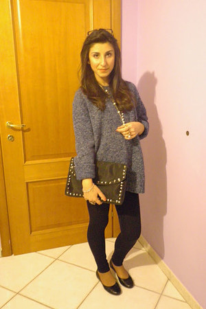 vintage sweater - Zara leggings - DIY bag - handmade flats
