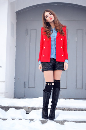 red OASAP jacket - black spiked OASAP socks