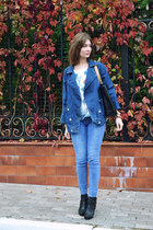 navy denim Zanzea jacket - ivory chiffon Zanzea top