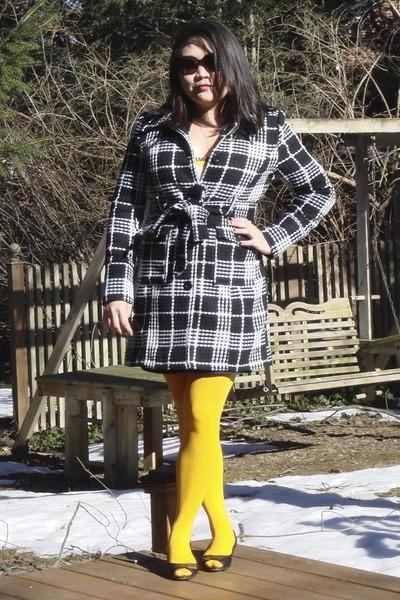 black Forever 21 coat - yellow We Love Colors stockings - black Michael Michael