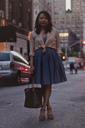 dark brown Louis Vuitton bag - periwinkle eShakti dress - neutral vince shirt