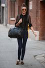 Black-leggings-black-bag-black-sunglasses-bronze-clogs-yellow-bracelet
