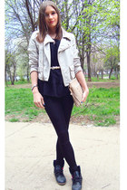 black Atmosphere leggings - beige pull&bear jacket - black Zara shirt