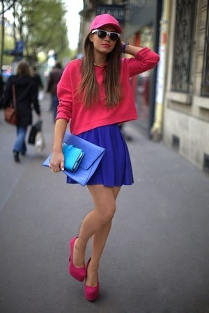 hot pink hoodie - hot pink shoes - blue skirt