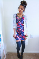 navy floral Forever 21 dress - gray thigh highs windsor socks