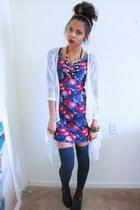 navy floral Forever 21 dress - gray thigh highs windsor socks