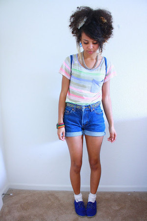 blue suede Forever 21 shoes - light purple rainbow stripes Old Navy shirt