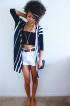 white Old Navy shorts - black bandeau bra - black Love Culture cardigan
