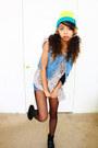 Chartreuse-hat-sky-blue-vest-pink-blouse-black-wedges