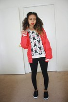 red Disney jacket - white Disney jumper - gold gold Forever 21 necklace