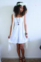 white dress - white hat - white fringe H&M cardigan