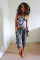 heather gray Wet Seal top - teal Forever 21 pants - teal The Vintage Closet bra