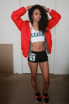black street style Hellz Bellz shorts - red varsity Disney jacket