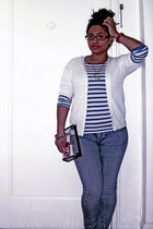 navy faded American Rag jeans - blue striped Forever 21 shirt - eggshell cardiga