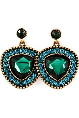 dark green bronze earrings