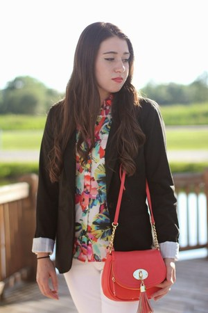 navy Old Navy blazer - white Michael Kors jeans - floral print The Limited shirt