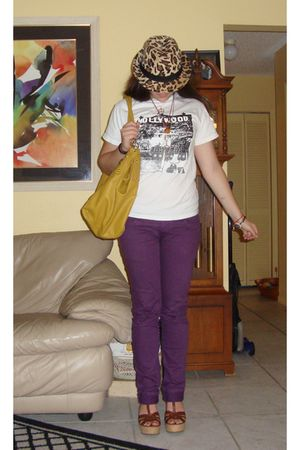 gold Dolce and Gabanna bag - purple pants - white t-shirt - brown Steve Madden s