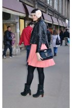 black BBup boots - salmon new look dress - black vintage bag - light pink handma