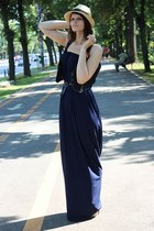 navy handmade by me dress - tan H&M hat - gold H&M sandals - Alice&Sara handmade