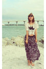 Ray-ban-sunglasses-lace-croptop-forever-21-top-forever-21-skirt