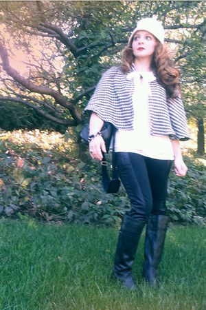 black Audrey Brooke boots - cream tie neck ann taylor blouse