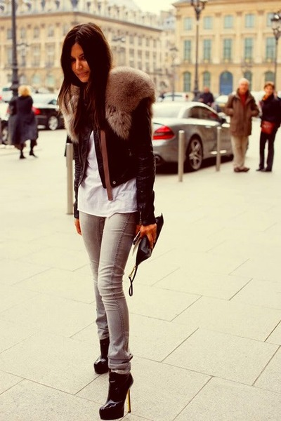 brown faux fur jacket - black leather jacket - black plums YSL shoes