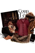 maroon edgy Finsk wedges - bronze cape Victorias Secret jacket