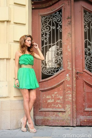 green silk No1 dress - beige studded No1 heels