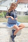 Navy-leather-no1-bag-light-blue-denim-no1-dress