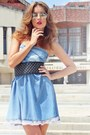 Navy-leather-no1-bag-light-blue-denim-no1-dress