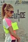 Chartreuse-neon-clutch-random-bag-hot-pink-leather-random-flats