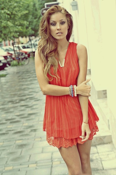 coral chiffon raus dress - turquoise blue bracelets raus accessories