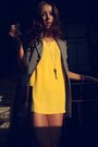 Light-yellow-plain-asos-dress-heather-gray-zara-blazer