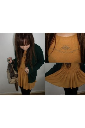 two tone Topshop bag - mustard tunic Topshop top - green knit vintage cardigan