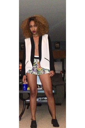 black oxf Forever21 shoes - black Tobi blazer - blue Forever 21 shorts