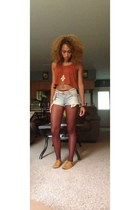 blue Forever 21 shorts - light orange Qupid shoes - crimson Forever 21 stockings